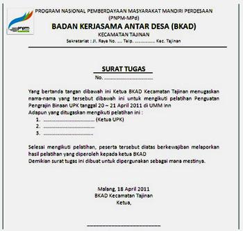 surat tugas Contoh Surat Tugas Atau Surat Penugasan